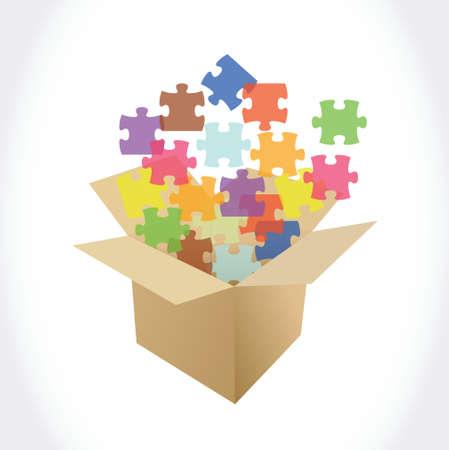 brown box: scatola marrone e pezzi di puzzle design illustrazione su uno sfondo bianco