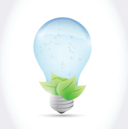 water light bulb and leaves illustration design over a white background Stock Vector - 24681026