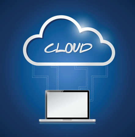 private information: laptop connected to a cloud. illustration design over a blue background Illustration