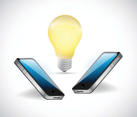 mobile device: smartphone lightbulb illustration over a white background