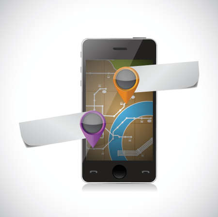 phone gps map and pointer illustration over a white background Vector