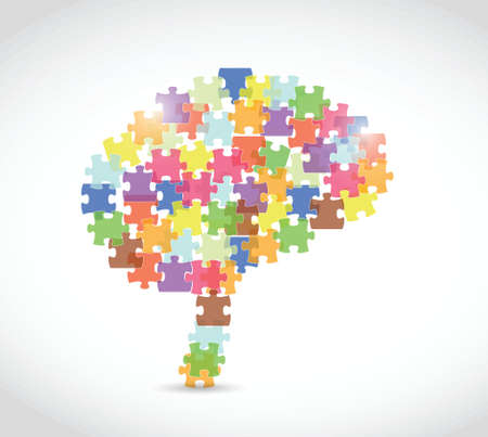 puzzle piece brain illustration over a white background Vector