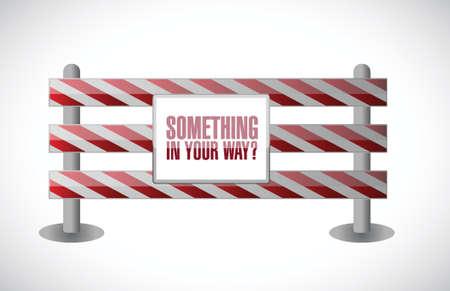 blocco stradale: qualcosa nel tuo modo di barriera illustrazione disegno su uno sfondo bianco