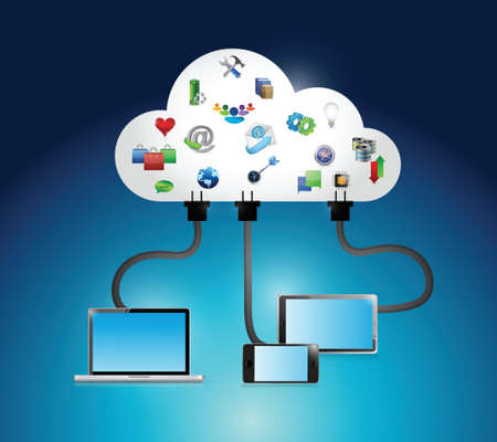 cloud computing connection icons and electronics. illustration design over a blue background
