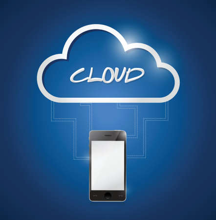 phone connected to a cloud. illustration design over a blue background Vector