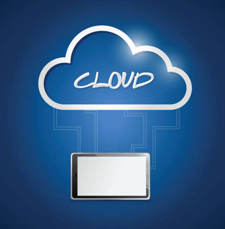 tablet connected to a cloud. illustration design over a blue background Vector