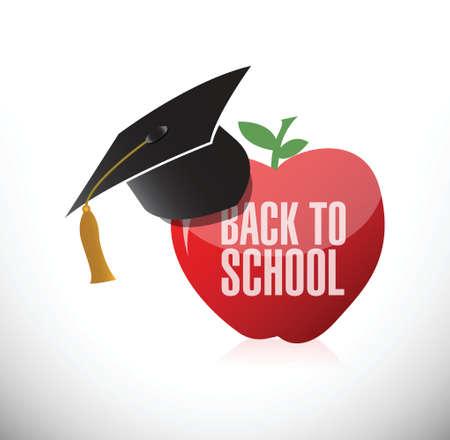 special education: de nuevo a la ilustraci�n de la manzana de la escuela y sombrero de la graduaci�n del dise�o sobre un fondo blanco