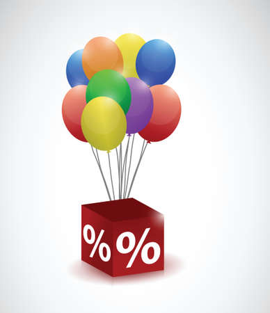 balloons and percentage cube illustration design over a white background Vector