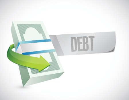 白い背景の上、お金と債務のメッセージ イラスト デザイン  イラスト・ベクター素材