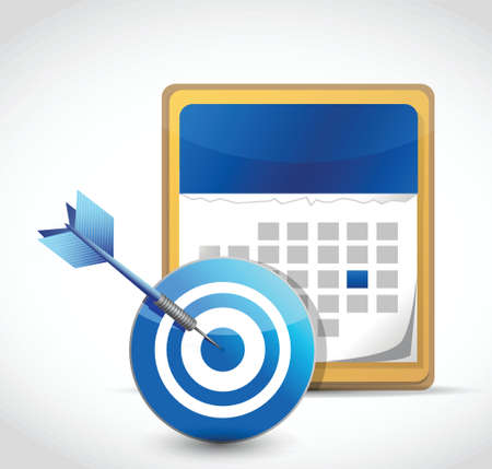 looseleaf: calendar and target dart illustration design over a white background