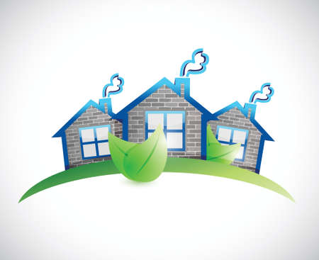 green homes real estate symbol illustration design over a white background Vector