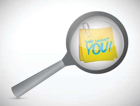 headhunter: we want you post under a magnify glass. illustration design over a white background