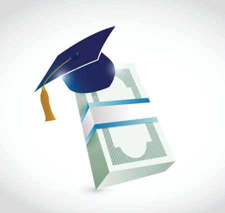 mortar board: money education graduation illustration design over a white background Illustration
