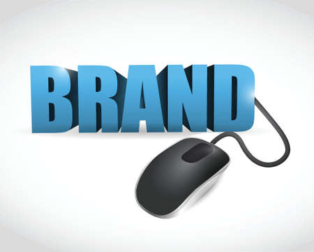 reputation: brand word connected to a mouse. illustration design over a white background