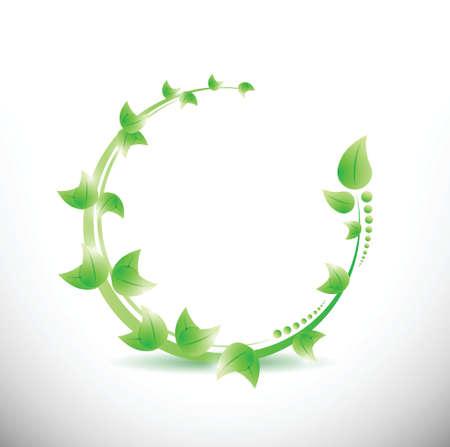 green leaves illustration design over a white background