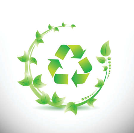 green leaves around a recycle symbol. illustration design over a white background