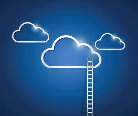 competitive business: clouds and stairs, illustration design over a blue background Illustration