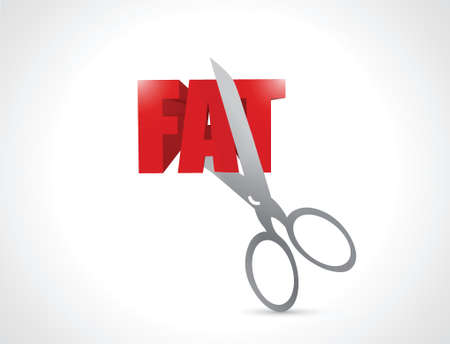 cutting a fat illustration design over a white background Vector