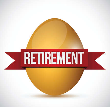 retirement egg illustration design over a white background