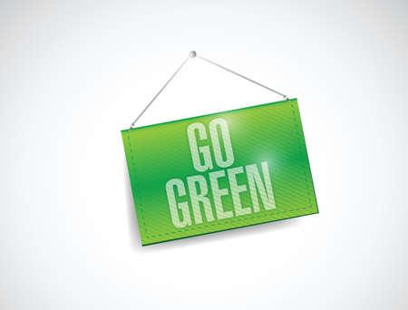go green hanging banner illustration design over a white background Reklamní fotografie - 24928900