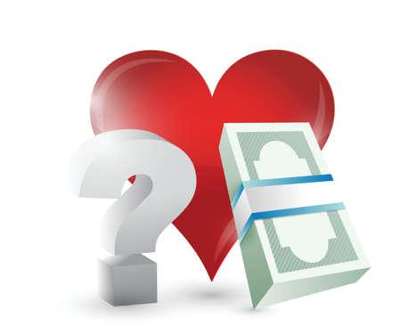흰색 배경 위에 심장 돈과 질문에 그림 디자인