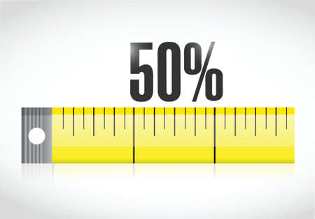 measure tape with a 50 percentage text. illustration design over a white background