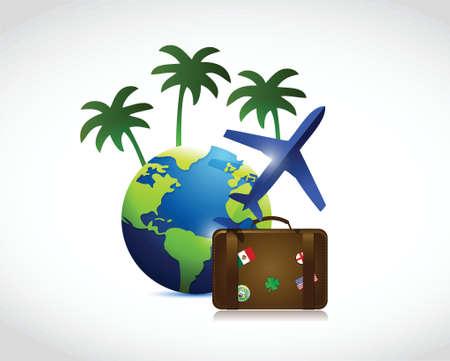 packing suitcase: concetto di viaggio, illustrazione, disegno su uno sfondo bianco