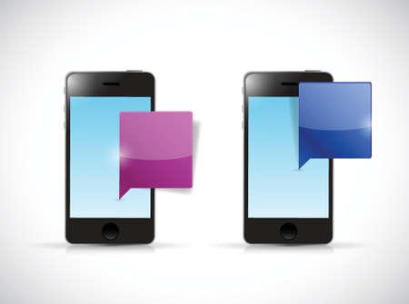 speakerphone: smartphones communication illustration design over a white background Illustration