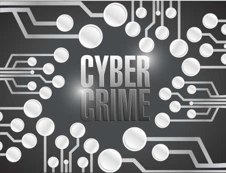 cyber crime circuit illustration design over a black background