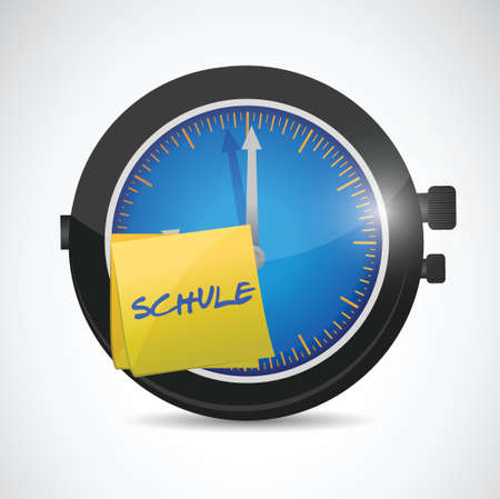 clock with a sticky note school as a symbol photo for start of school Illustration