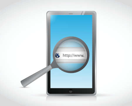 tablet search bar online illustration design over a white background