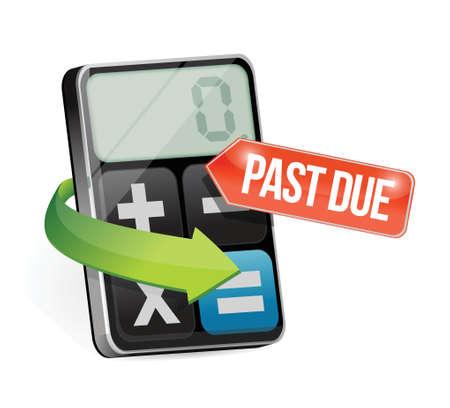 past due calculator illustration design over a white background Ilustração