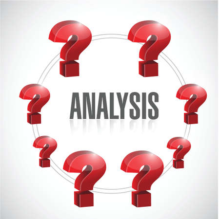 problem solution: analysis to questions illustration design over a blue