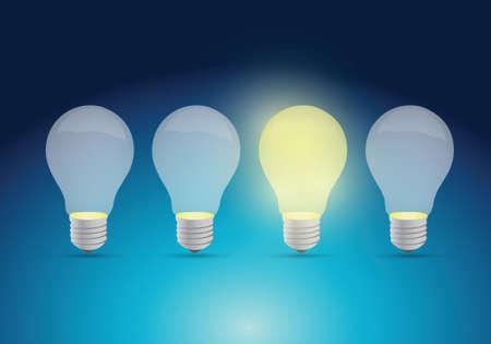 light bulb idea concept illustration design over a blue  Illustration