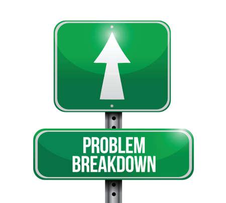 problem breakdown road sign illustration design over a white