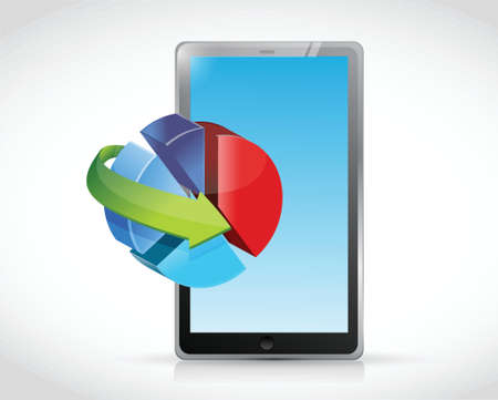 tablet and pie chart illustration design over a white  Vector