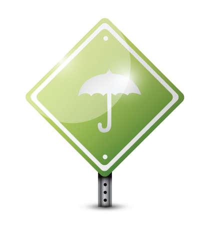 green sign: ombrello segno di design illustrazione verde su bianco