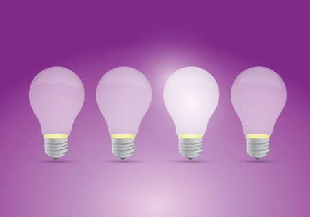 Idea concept with row of light bulbs and glowing bulb Illustration