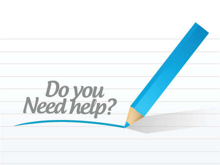 help: do you need help message illustration design over a white