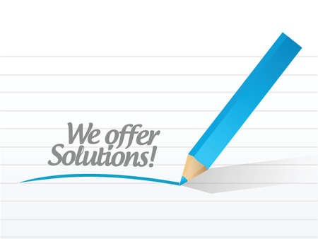 creative answers: we offer solutions message illustration design over a white