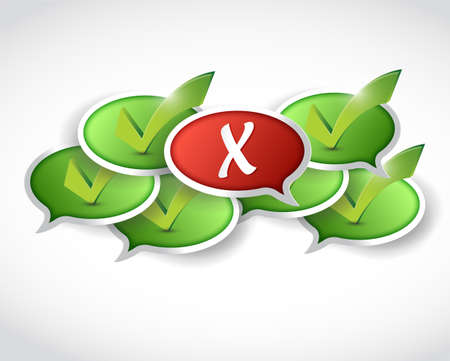 check mark message and x mark in front illustration design over a white  illustration