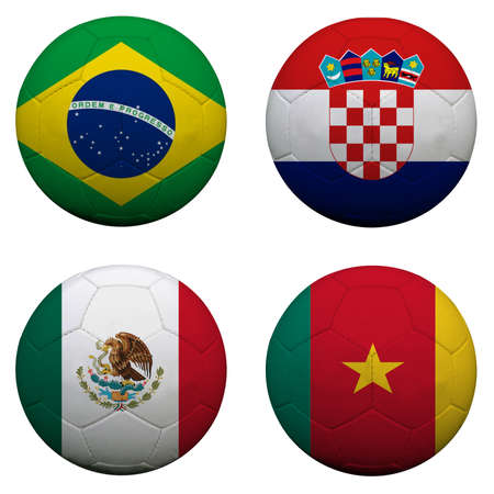 qualify: soccer balls with group A teams flags, Football Brazil 2014 Stock Photo