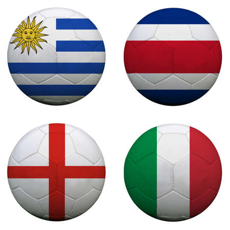 soccer balls with group D teams flags, Football Brazil 2014. isolated on white Imagens