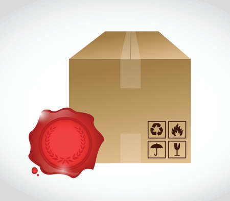 box and wax seal illustration design over a white