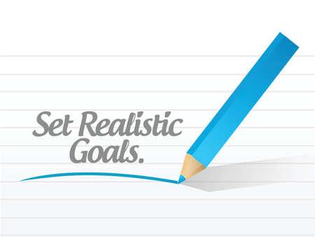 set realistic goals message illustration design over a white  Illustration