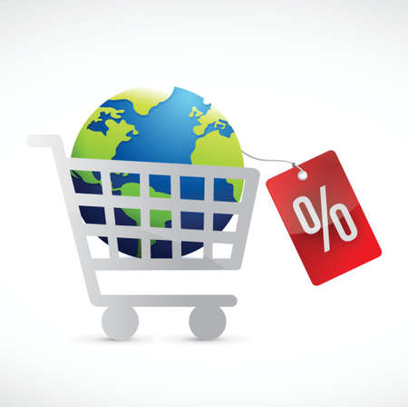 troley: shopping cart, globe and tag illustration design over a white