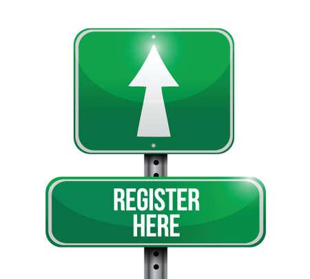 register here road sign illustration design over a white