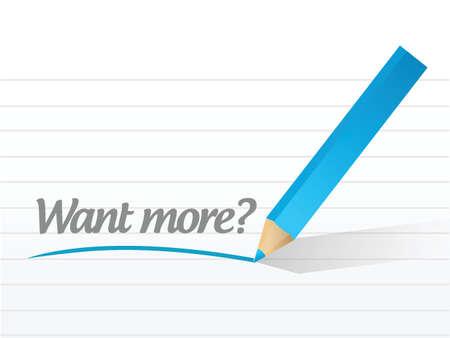 better chances: want more question message illustration design over a white  Illustration