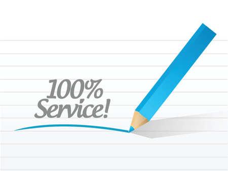 promise: 100 percent service message illustration design over a white