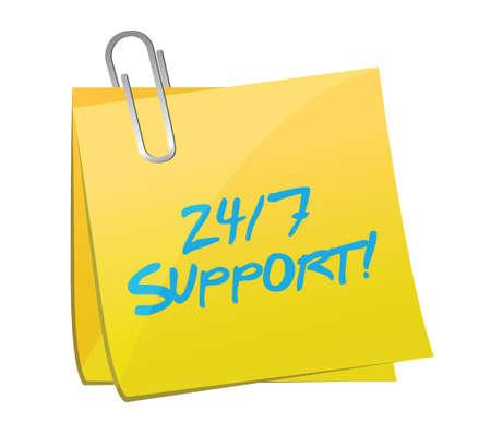 24 7 support post illustration design over a white  Vector